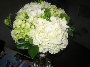 Bridal Bouquet Lime and White Hydrangea