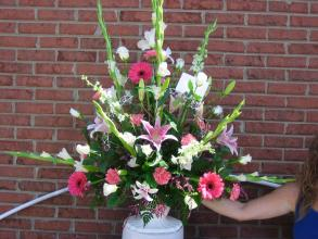 Pink and White Sympathy Arrangement