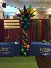 Mardi Gras Balloon Column with Tapers