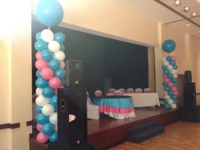 Teal and Pink Balloon Column Stage Decor