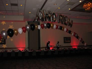 "Balloon Letters ""Andrew\"" Arch"