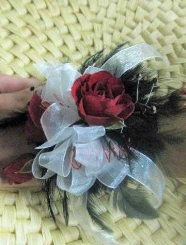 Rose and Feather Corsage