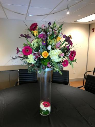 Large Formal Centerpiece on Tall Cylinder Vase