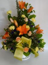 Sympathy Basket with Lilies and Roses