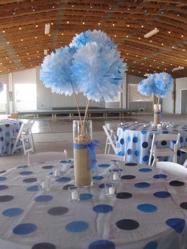 Blue and White Paper Pom-Pom Table Decorations